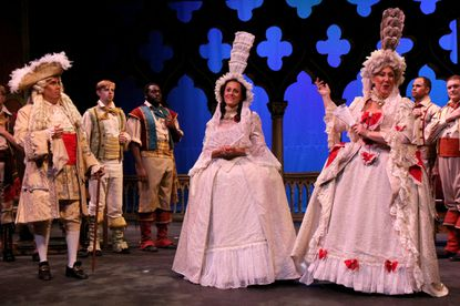"""From left: Andrew Adelsberger, Melissa Mino and Jennifer Blades in Young Victorian Theatre Company's production of """"The Gondoliers"""""""