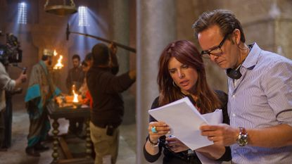 Behind-the-Scenes; Mark Burnett and Roma Downey with the cast and crew on set at the Ouarzazate Museum location.