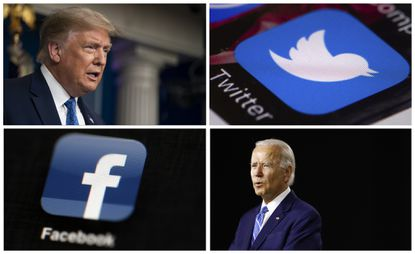 This photo combo of images shows, clockwise, from upper left: President Donald Trump speaking during a news conference at the White House on July 22, 2020, in Washington, the Twitter app, Democratic presidential candidate, former Vice President Joe Biden speaking during a campaign event on July 14, 2020, in Wilmington, Del., and the Facebook app. The campaigns of Mr. Trump and Mr. Biden are ramping up their attacks of one another in online ads and social media this week of the Democratic National Convention. (AP Photo)