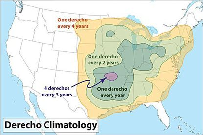 Derecho storms like the ones that struck Maryland on Friday occur rarely here.