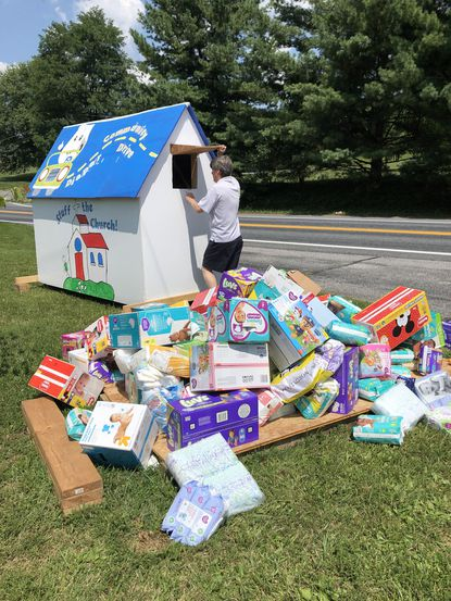"Calvary Lutheran Church collected donations of diapers, wipes, and pull-ups through its ""Stuff the Church"" drive."