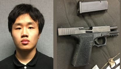 Alwin Chen, 18, was charged with bringing this loaded gun to Clarksburg High School in Montgomery County.