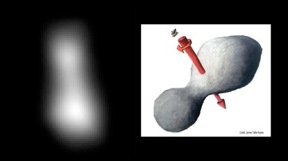 NASA and the Johns Hopkins Applied Physics Laboratory provided this preliminary image of 2014 MU69 – nicknamed Ultima Thule – a bowling pin-shaped object rotating like a propellor in the Kuiper Belt beyond Pluto that the APL-managed New Horizons spacecraft passed by on Tuesday.