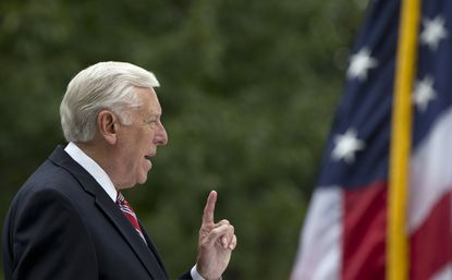 House Minority Whip Steny Hoyer of Md. speaks on Capitol Hill in Washington, Wednesday, Sept. 30, 2015, during a Congressional Flag Presentation Ceremony to honor the nation's fallen firefighters, as part of the 2015 National Fallen Firefighters Memorial. (AP Photo/Carolyn Kaster) ORG XMIT: OTK