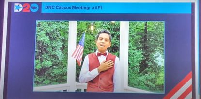 Ashwin Hazarika, 13, an eighth grader at Clarksville Middle School, performs the national anthem virtually on the first day of the 2020 Democratic National Convention on Aug. 17, 2020. (via YouTube/Courtesy photo)