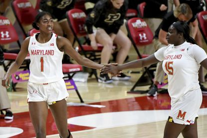 Maryland guards Diamond Miller (1) and Ashley Owusu (15) both received invites to the USA Basketball Women's AmeriCup Team trials in South Carolina.