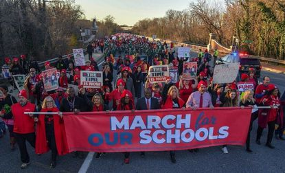 Thousands of teachers, parents, and students gathered and marched down Rowe Boulevard in Annapolis earlier this year to call on state officials to fully fund education.