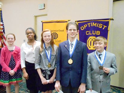 Winners and runners-up in the Optimist Club of Tmonium's Oratorical Contest held March 18 are, from left: Alexandra Fabula, 3rd place; Alexis Green, 2nd place; Mary Norris, 1st place; Ian Michael Moore, 1st place; and Joe Newland, 2nd place.