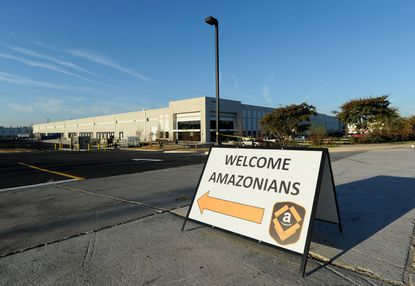 Baltimore,MD -- A sign greets new employees at the Amazon warehouse complex on Broening Highway. Amazon opened a one million square-foot fulfillment center on Broening Highway on March 30. (Jerry Jackson/Baltimore Sun)