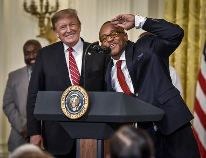 Former inmate Gregory Allen appeared at the White House in April with President Donald Trump to celebrate the First Step Act criminal justice reform bill.