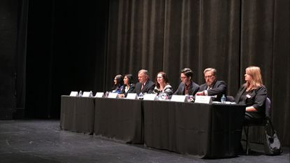 Seven of the eight school board candidates at the League of Women Voters of Howard County election forum at the Howard Community College Smith Theater Thursday night.