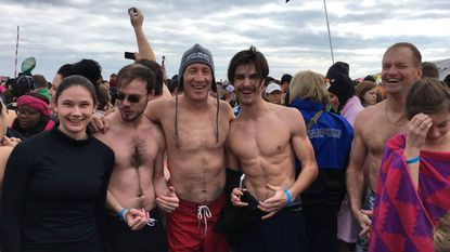 Shane's Shiverers at the 2017 Polar Bear Plunge at Sandy Point State Park. From left, Lydia Hogan, Lanze Heerdt, Kevin Heerdt, Aaron Huie and Mike Clark.
