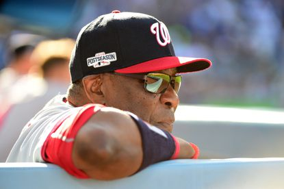 Nationals manager Dusty Baker looks on in the fifth inning against the Los Angeles Dodgers during Game 4 of the National League Division Series at Dodger Stadium on October 11, 2016 in Los Angeles.