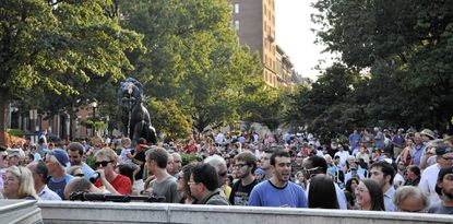 The crowd at WTMD's First Thursdays Concerts in the Park.