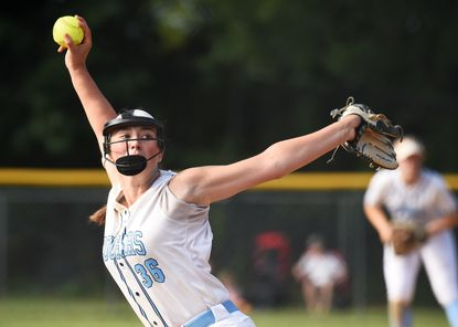 Chesapeake pitcher Jerzie Nutile, throwing a pitch against Bel Air on Tuesday, led the Cougars past Northern-Calvert in a Class 4A state semifinal game on Wednesday.