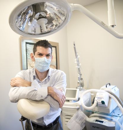 Dr. Guy Cappuccino, a Mount Airy plastic surgeon, has been offering his services to people in the community with injuries requiring sutures or medical attention while emergency rooms are overtaxed because of the coronavirus emergency.
