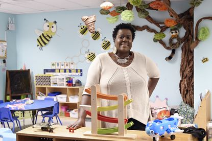 Nette Stokes, executive director of the non-profit JustLiving Advocacy Inc., has been helping families and single mothers with child care needs using CARES Act funding. She is pictured at Grace Early Learning Center in Elkridge. (Kenneth K. Lam/Baltimore Sun).
