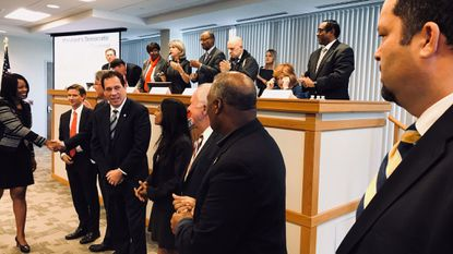 Democrats vying to be the party's nominee for governor (from left) Maya Rockeymoore Cummings, Alec Ross, Sen. Richard S. Madaleno Jr., Baltimore County Executive Kevin Kamenetz, Krish Vignarajah, Jim Shea, Prince George's County Executive Rushern L. Baker III and Ben Jealous.