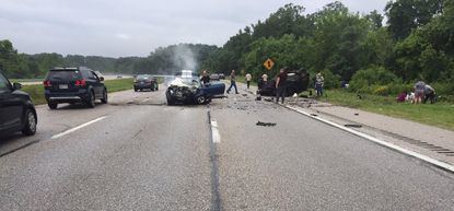 Two cars are overturned in an accident on Route 10 in Glen Burnie on June 23 that seriously injured an Aberdeen man and two other drivers.