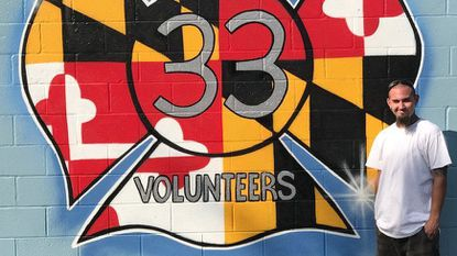Tattoo artist Taylor O Cuinn donated his time to paint a freehand mural on the exterior wall of the Glen Burnie Volunteer Fire Company Lodge.