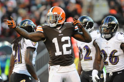 Browns wide receiver Josh Gordon signals for a first down after a catch against the Ravens during their meeting last November.