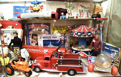 Toys from the 1950s on display at the Taneytown History Museum.