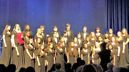 The Dulaney High School Honors Concert Choir performs during a celebration of the life of Rob Hiaasen, who was killed in the June attack at the Capital Gazette newspaper in Annapolis.