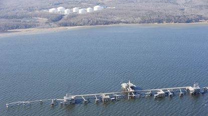 Aerial view of the offshore dock for ships at the Dominion Cove Point LNG facility on the Chesapeake Bay.