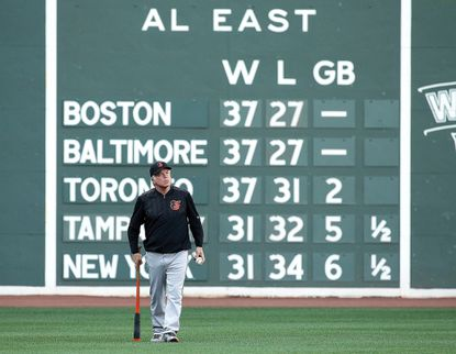 Orioles manager Buck Showalter walks the field before a game with the Boston Red Sox at Fenway Park on June 16, 2016 in Boston.