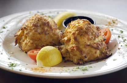 Broiled crab cakes at Catches in Middle River.