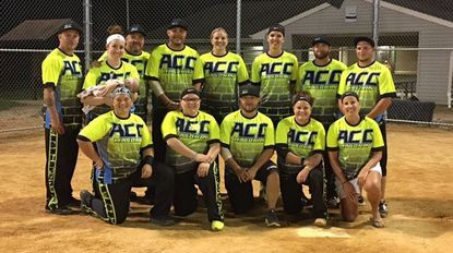The ACC Masonry co-ed softball team. Back Row (L-R): Greg Quick, Taylor Chaffman, Billy Chaffman, Nick Hetrick, Sarah Gardner, Sam Robertson, Andy Thompson, Tyler Brown. Front Row: Jessica Derr, Emily Franklin, Andrew Derr, Ashley Franklin, Ali Zinnel.