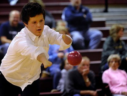 Manchester Valley team captain Nicky Halberstam tosses a ball in 2012 Carroll County Unified Indoor Bocce Championship at Winters Mill High School in Westminster Nov. 12.