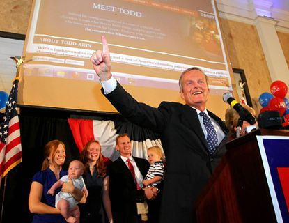 U.S. Rep. Todd Akin of Missouri gives a victory speech at a campaign party at the Columns Banquet Center in St. Charles, Mo.