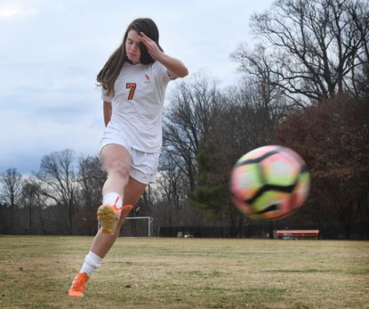 Baylee DeSmit, McDonogh School's junior attacker, is the All-Metro girls soccer Player of the Year. Photo by: Kenneth K. Lam