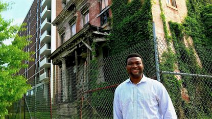In West Baltimore's Lafayette Square, Ernst Valery plans to convert the long-abandoned Sellers Mansion to apartments for senior citizens.