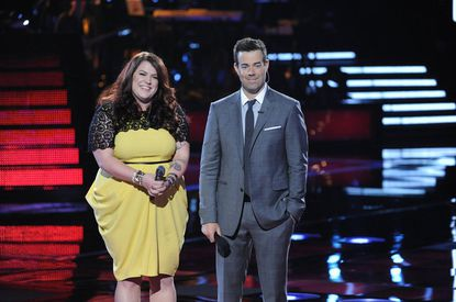 """Gaithersburg's Erin Willet (left) with """"The Voice"""" host Carson Daly on Monday night's show."""