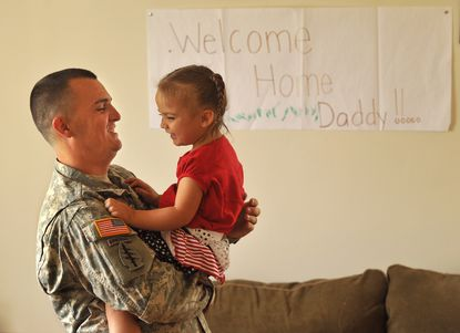 Sgt. Justin Haggerty, 27, who returned from Afghanistan in January, will get to celebrate the Fourth of July with his wife Joanna, 25, and daughter Joilee, 3, at Fort Meade.