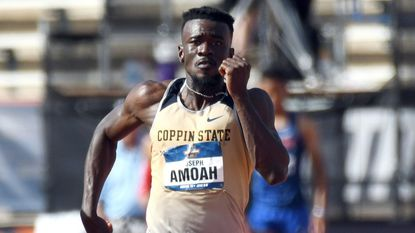 Coppin State sprinter Joseph Amoah was victorious against an international field in the 100-meter dash at the Aliann Pompey Invitational.
