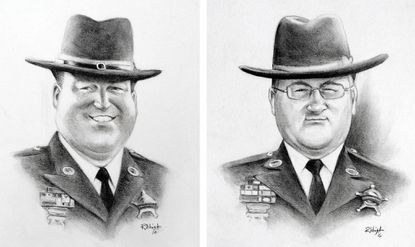Caricatures done by local Bel Air artist Rick Wright of Caricatures by Rick Wright & Co. of Senior Deputy Patrick Dailey, right, and Deputy First Class Mark Logsdon as a tribute to the two law enforcement officers who were shot to death in the line of duty a year ago Friday.