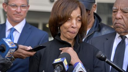 """Former Baltimore Mayor Catherine Pugh speaks before a gathering of media in front of the federal courthouse in downtown Baltimore after being sentenced to three years in prison, followed by three years probation as a result of her pleading guilty to conspiracy and tax evasion in her """"Healthy Holly"""" fraud scheme."""