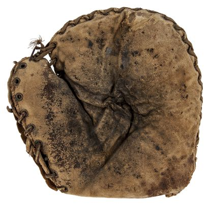 This is a Babe Ruth catcher's mitt being auctioned off by Goldin Auctions.