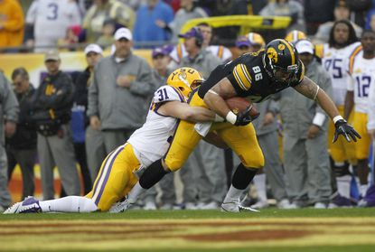 Iowa tight end C.J. Fiedorowicz runs with the ball against LSU in January.