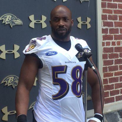 Ravens linebacker Elvis Dumervil speaks to the media Monday, August 22.