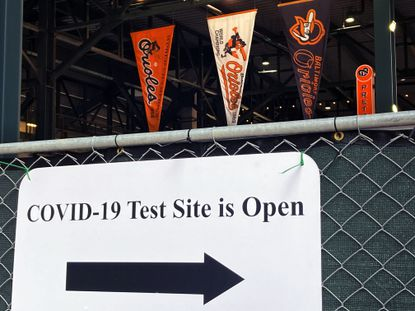 A look of the newly-set up coronavirus testing facility for fans who would like a test taken, at Oriole Park at Camden Yards Fri., April 23, 2021. (Karl Merton Ferron/Baltimore Sun Staff)