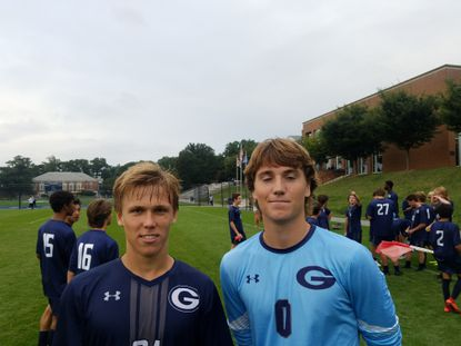 Gilman soccer teammates, from left, Costi Karakousis and Grant Farley helped the Greyhounds win their MIAA A Conference opener, 1-0, over Mount Saint Joseph.