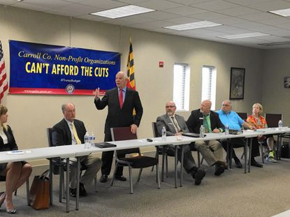 U.S. Sen. Ben Cardin, D-Md., speaks to local nonprofit leaders as he tours Carroll County on Friday, June 16, 2017.