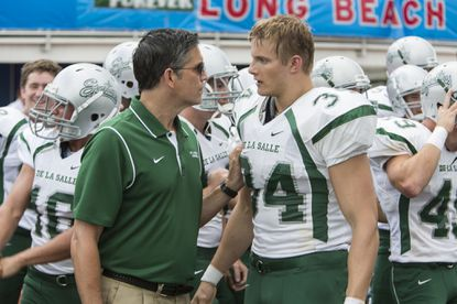 """Jim Caviezel (left) and Alexander Ludwig in TriStar Pictures' """"When the Game Stands Tall."""""""
