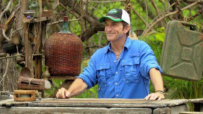 "Host Jeff Probst presides over the Survivor Auction on a recent episode of ""Survivor: Worlds Apart."""