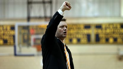 Oakland Mills Head Coach Jon Browne in action during a high school boys basketball match between Catonsville and Oakland Mills on Dec. 5, 2017.