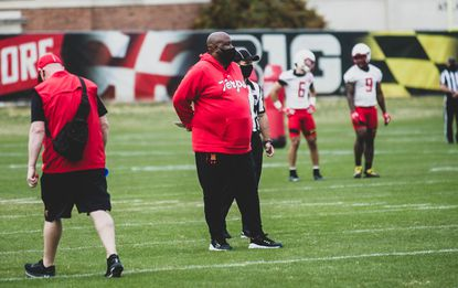Maryland head coach Mike Locksley looks on during the team's 2021 spring football practice.